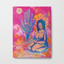 Pink Mudra Meditation Metal Print