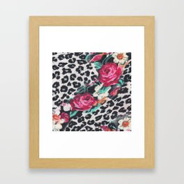 Vintage black white pink floral cheetah animal print Framed Art Print