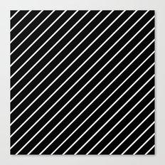 Hot 80s Style Diagonal Black and White Geometric Pattern Canvas Print