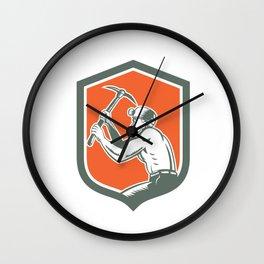 Coal Miner With Pick Axe Shield Retro Wall Clock