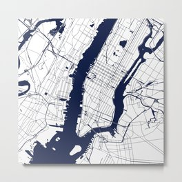 New York City White on Navy Metal Print