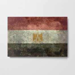 National flag of Egypt, Vintage version (High Quality) Metal Print