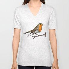 Robin bird Unisex V-Neck