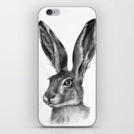 Cute Hare portrait G126 iPhone Skin
