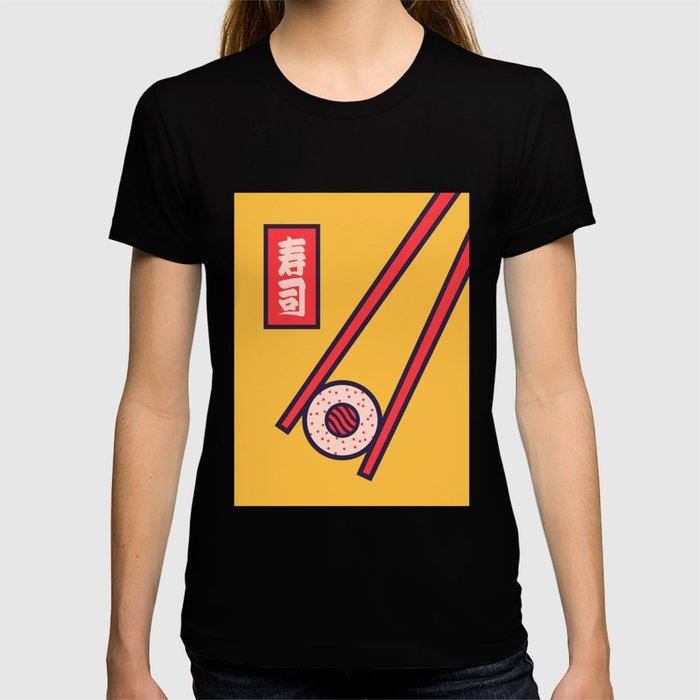 Sushi Minimal Japanese Food Chopsticks - Yellow T-shirt