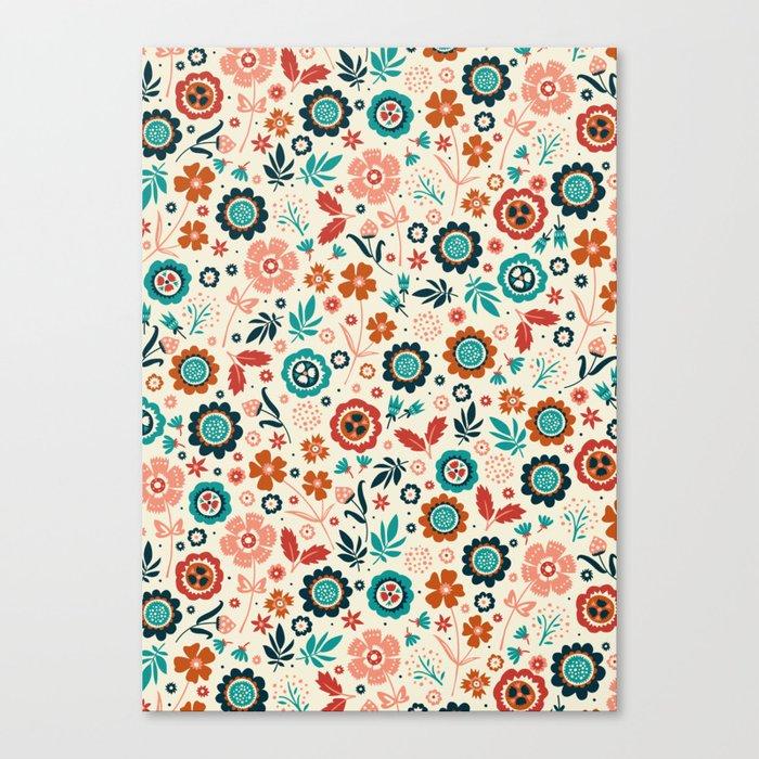 Folk Flowers Canvas Print