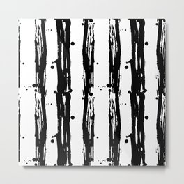Seamless pattern stripes. Black and white Metal Print