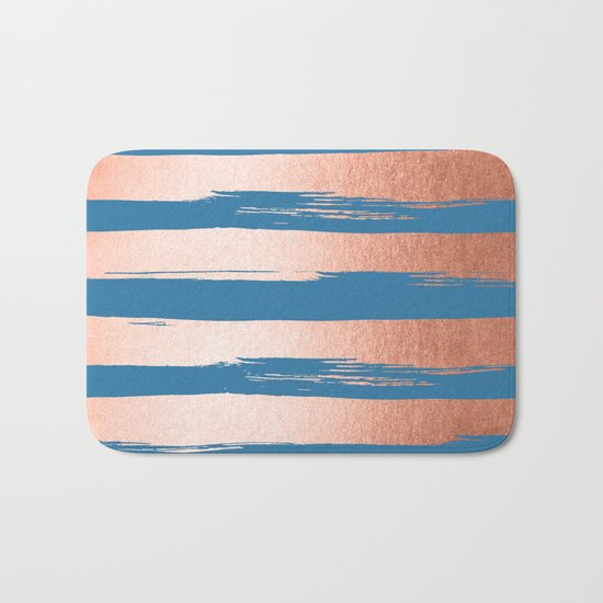 Trendy Stripes Sweet Peach Coral Pink + Saltwater Taffy Teal Bath Mat