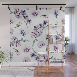 Lavender Blossom Floral Pattern Wall Mural