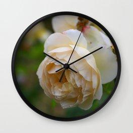 Beautiful Blooming Cream Colored Roses Wall Clock