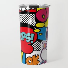 Funny Multicolor Comic Unicorn Pop Art Travel Mug