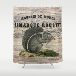 french country scripts fall autumn woodland animal grey squirrel Shower Curtain
