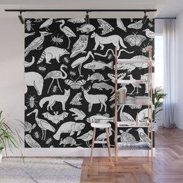 Linocut animals nature inspired printmaking black and white pattern nursery kids decor Wall Mural