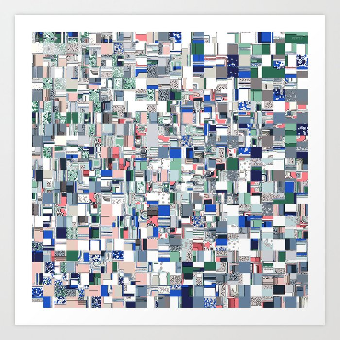 Geometric Grid of Colors Art Print