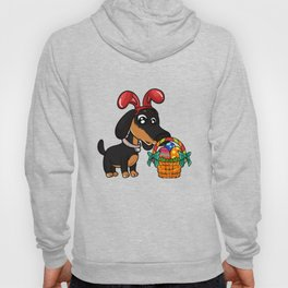 Cute Dachshund Easter Egg Hunt Dog graphic Hoody