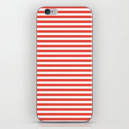 Even Horizontal Stripes, Red and White, S iPhone Skin