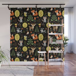 Cute Colorful Wood Animals In Forest Wall Mural