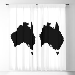 Australia Black Silhouette Map Blackout Curtain