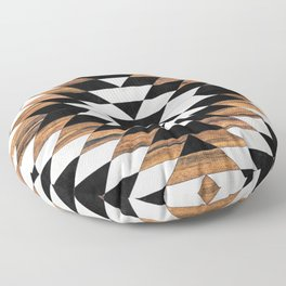 Urban Tribal Pattern No.13 - Aztec - Concrete and Wood Floor Pillow