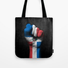 Dominican Flag on a Raised Clenched Fist Tote Bag