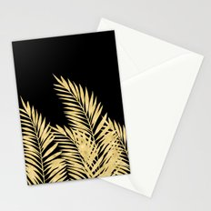 Palm Leaves Golden On Black Stationery Cards