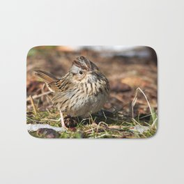 Staredown with a Lincoln's Sparrow Bath Mat