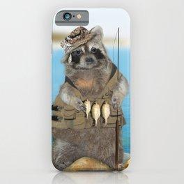Raccoon Fisherman iPhone Case