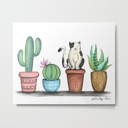 Cat and Cacti Metal Print