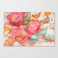 Peonies and Kimono Canvas Print