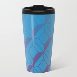 Squares in Blue Travel Mug