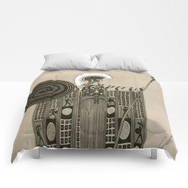 "Art Deco Sepia Illustration ""Athena"" Comforters"