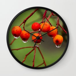 Rowan Berries with Water Droplets Wall Clock