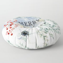 Merry and bright. Christmas wreath Floor Pillow