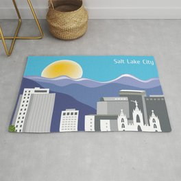 Salt Lake City, Utah - Skyline Illustration by Loose Petals Rug