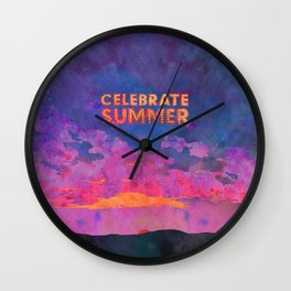 Celebrate Summer Sunset Scene Watercolor Painting Wall Clock