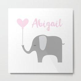 Abigail - Nursery Pink Grey Elephant Heart Metal Print