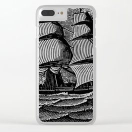 Vintage Sailing Ship - Antique Book Plate Etching - Retro Style Brown and Black Clear iPhone Case