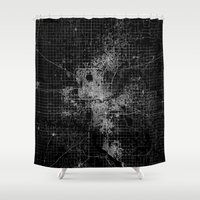 oklahoma Shower Curtains featuring oklahoma city map by Line Line Lines