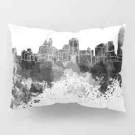 Cincinnati skyline in black watercolor Pillow Sham