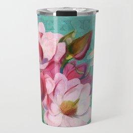 Verdigris Pink Magnolias Travel Mug