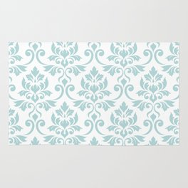 Feuille Damask Pattern Duck Egg Blue on White Rug