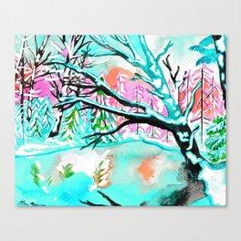 Frozen Pond Winter Landscape - Turquoise Palette Canvas Print