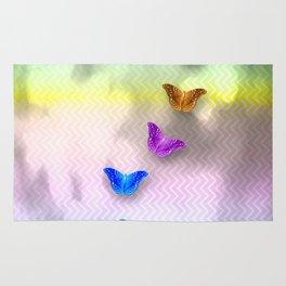 Rainbow of butterflies on textured chevron pattern Rug