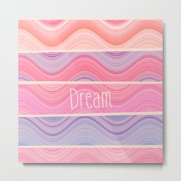 Dream Girly Pink Purple Pastel Waves Stripes  Metal Print