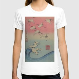 Japanese Ocean WAVE and CRANES Flying T-shirt