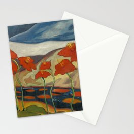 Spring Mountain Snows with Red Poppies & Calla Lilies by Blue River landscape by Zolote Palugyay Stationery Cards