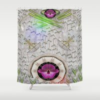 asian Shower Curtains featuring Asian pattern by Pepita Selles