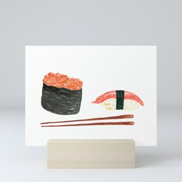 Watercolor Sushi Rolls And Chopsticks Mini Art Print