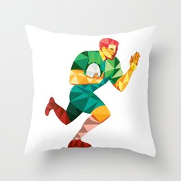 Rugby Player Fend Off Low Polygon Throw Pillow