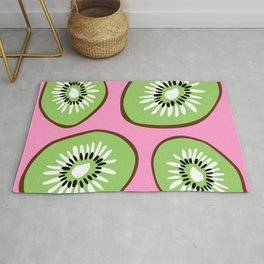Bright Pink and Green Bold Kiwifruit Pattern Poster Rug